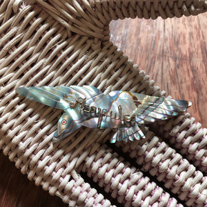 Vintage Carved Abalone Bird Brooch ACAPULCO